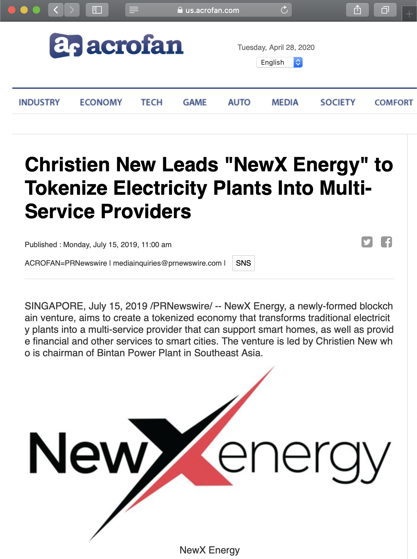 "Christien New Leads ""NewX Energy"" to Tokenize Electricity Plants Into Multi-Service Providers"