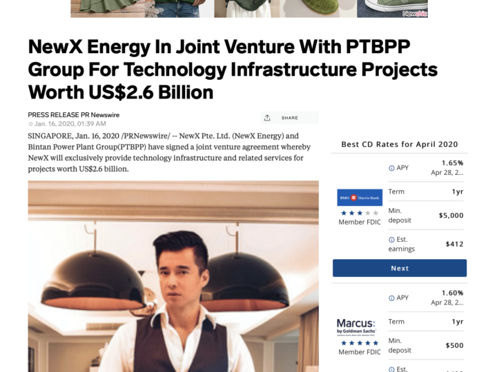 Business Insider – NewX Energy In Joint Venture With PTBPP Group For Technology Infrastructure Projects Worth US$2.6 Billion