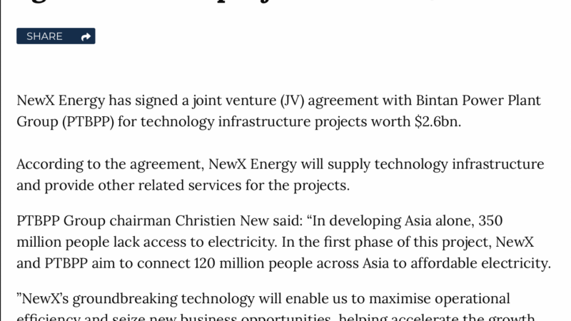 NewX Energy and PTBPP sign JV agreement for projects worth $2.6bn