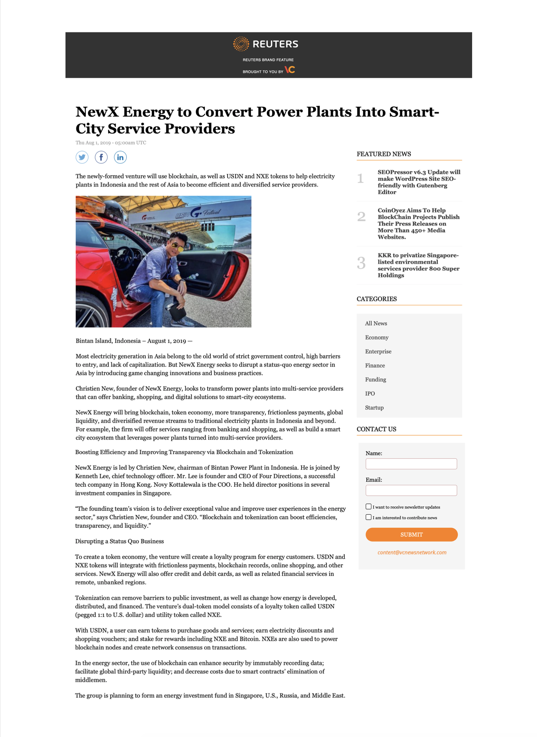 Reuters – NewX Energy to convert Power Plants into Smart City Service Providers