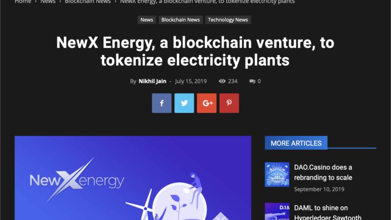 NewX Energy, a blockchain venture……