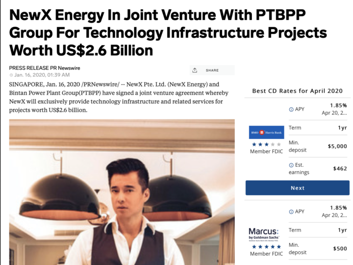 Yahoo Finance – NewX Energy In Joint Venture With PTBPP Group For Technology Infrastructure Projects Worth US$2.6 Billion