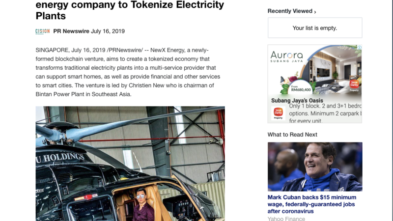 Yahoo Finance – Christien New Launches blockchain energy company