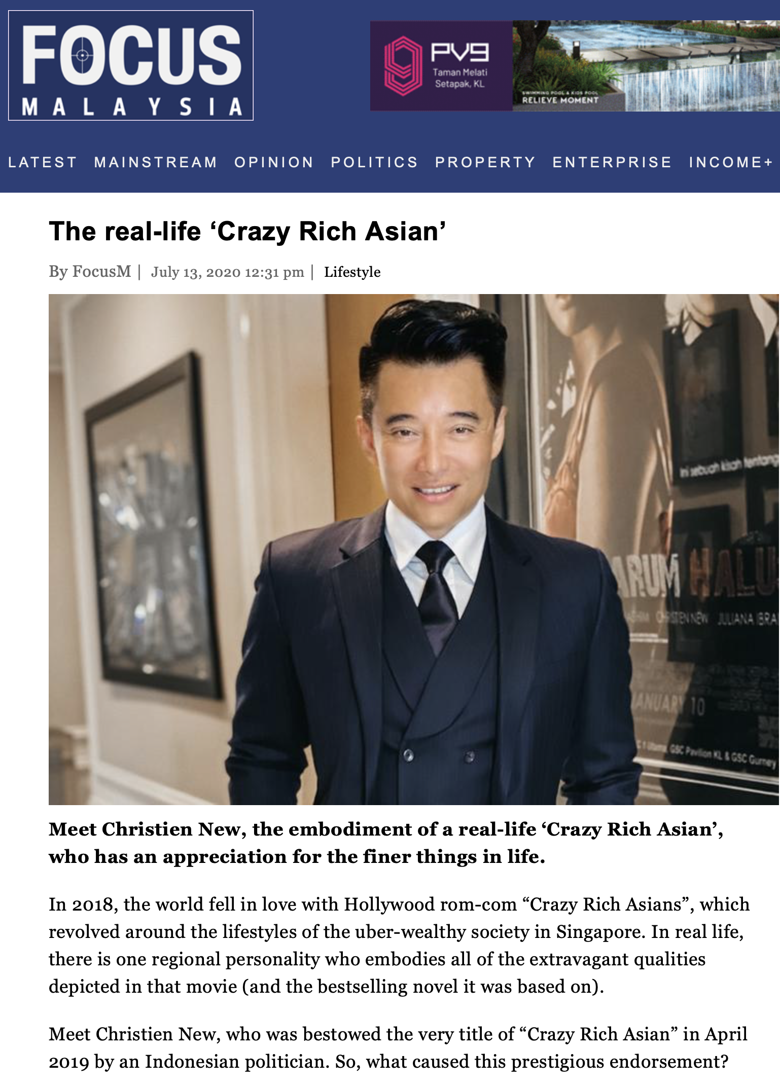Focus Malaysia Business News – The real-life 'Crazy Rich Asian'