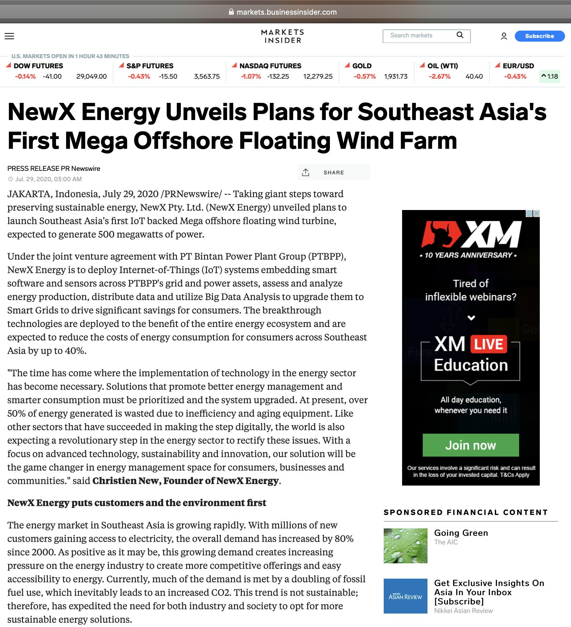 NewX Energy Unveils Plans for Southeast Asia's First Mega Offshore Floating Wind Farm